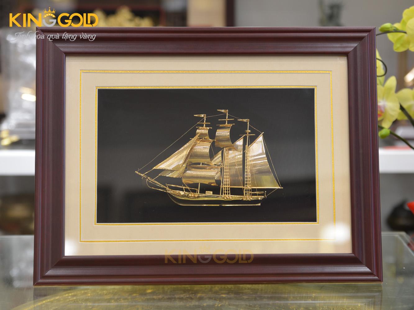 Bán tranh thuyền buồm phong thủy mạ vàng 24k