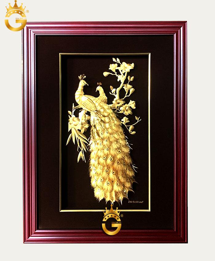 Tranh như ý cát tượng vàng lá 24k khung 60x80 cm